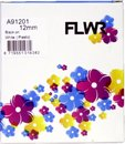 FLWR - Printetiket / 91201 / Zwart op Wit - geschikt voor Dymo