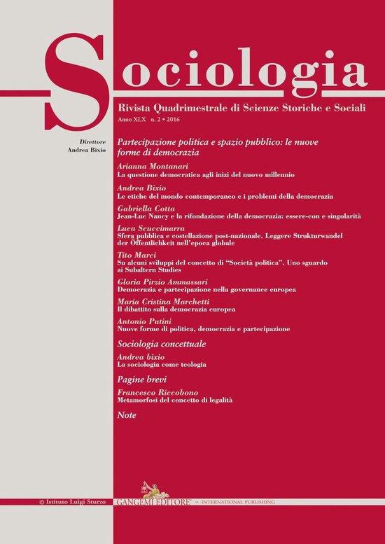 Boek cover Sociologia n. 2/2016 van Antonio Putini (Onbekend)