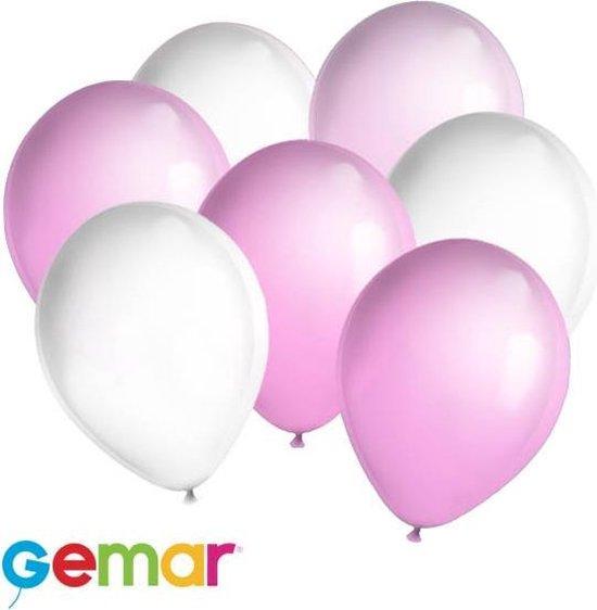 30x Ballonnen Pink en Wit (Ook geschikt voor Helium)