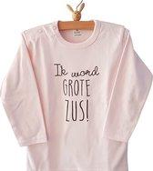 Zwangerschapsaankondiging Shirt Ik word grote zus   lange mouw T-shirt   roze   maat 86 zwangerschap aankondiging bekendmaking Baby big sis sister