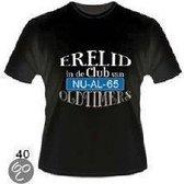 Slogan T-Shirt Maat XL - Erelid in de club van 65 jaar Oldtimers