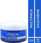 L'Oréal Paris Triple Active Nachtcrème - 2 x 50 ml  - Voordeelverpakking