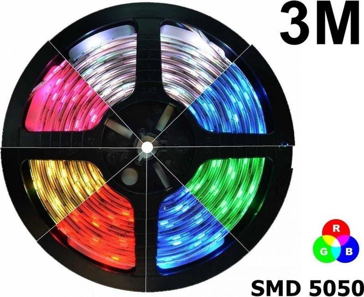 3 Meter - IP20 RGB LED Strip SMD5050 60led p/m (geen adapter en remote/controller inbegrepen)