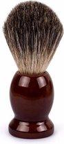 SIMIA™ Luxe en Duurzame Scheerkwast - Voor Sublieme Schuim - Scheerschuim - Zacht en Soepel - 100% Natuurlijk Haar - Houten Handvat - Bruin - Cadeautip