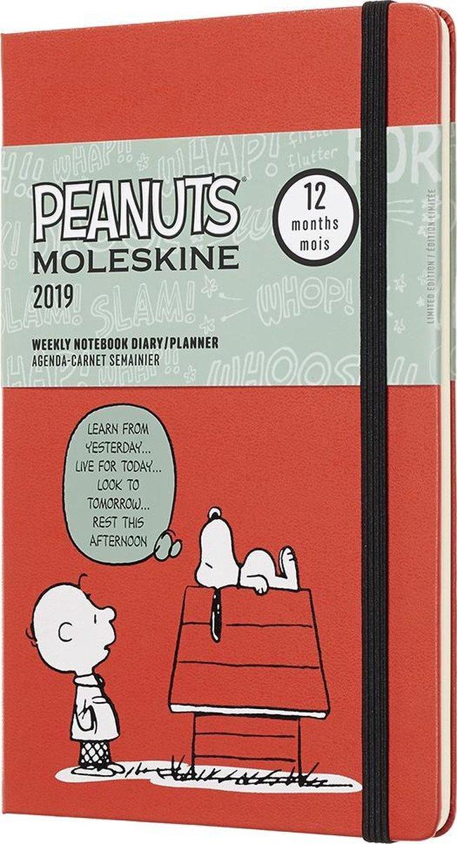 Moleskine agenda 2019 - 12 maanden - Wekelijks - Peanuts rood - Large - Hard cover - Moleskine