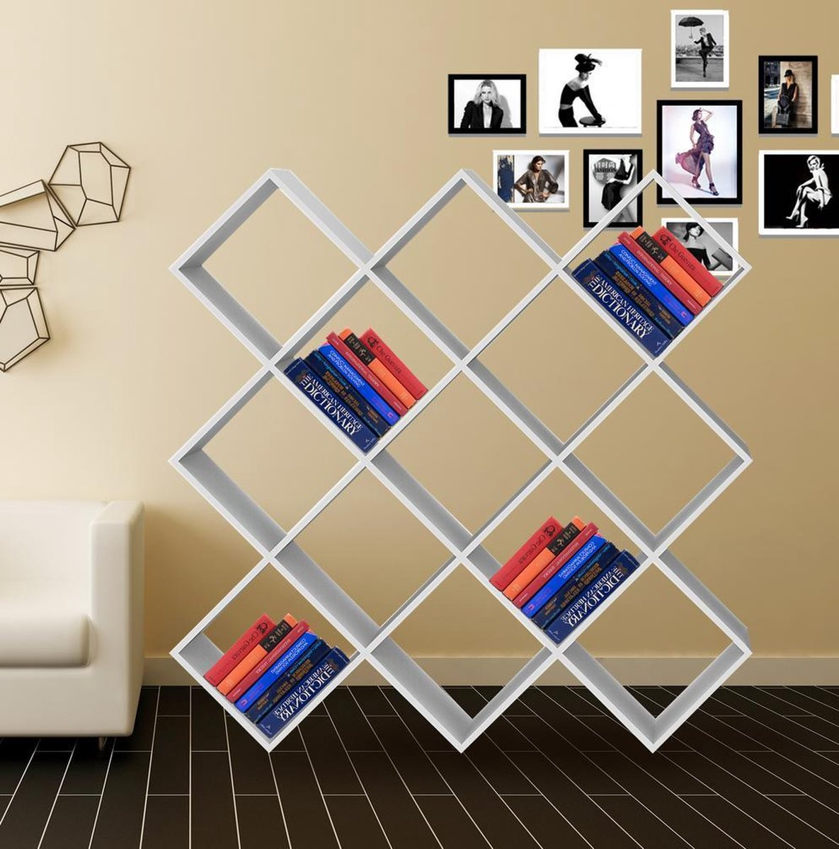 Boekenkast Vinyl LP kast roomdivider open design Nelis 13 vakken wit - VDD Vinyl Wish