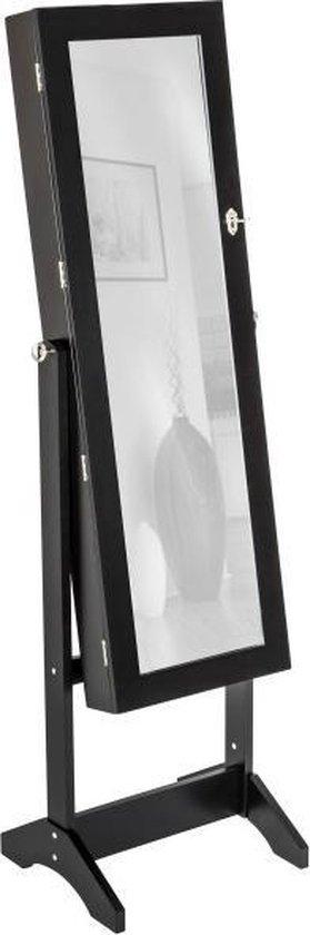 Sieradenkast - Spiegel - MDF - 149x37 cm - zwart