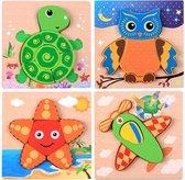 4 Houten Puzzels Dieren | Schildpad, Uil, Zeester, Vliegtuig | Inlegpuzzel | Vormenpuzzel | Kinderen | Peuters