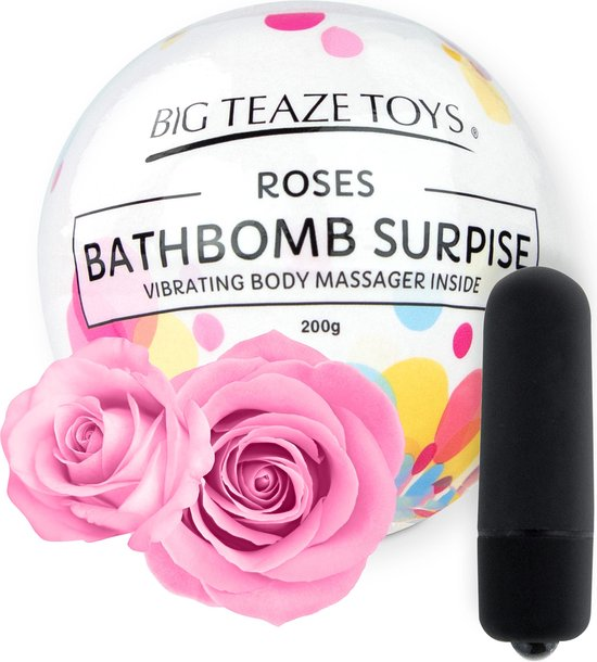 Big Teaze Toys Bath Bomb Surprise met Vibrerende Lichaamsmassager - Roos
