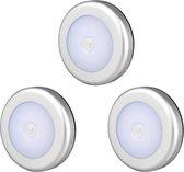Led Lamp met bewegingssensor - Koud Wit - Set van 3 - Draadloos - Werkt op batterij met sensor - Binnenlamp -Onderbouw verlichting keuken - Nachtlamp - Automatische Led verlichting met bewegingssensor- Lamp voor in kast en trap