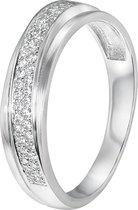 Zilveren ring rhodiumplated met zirkonia