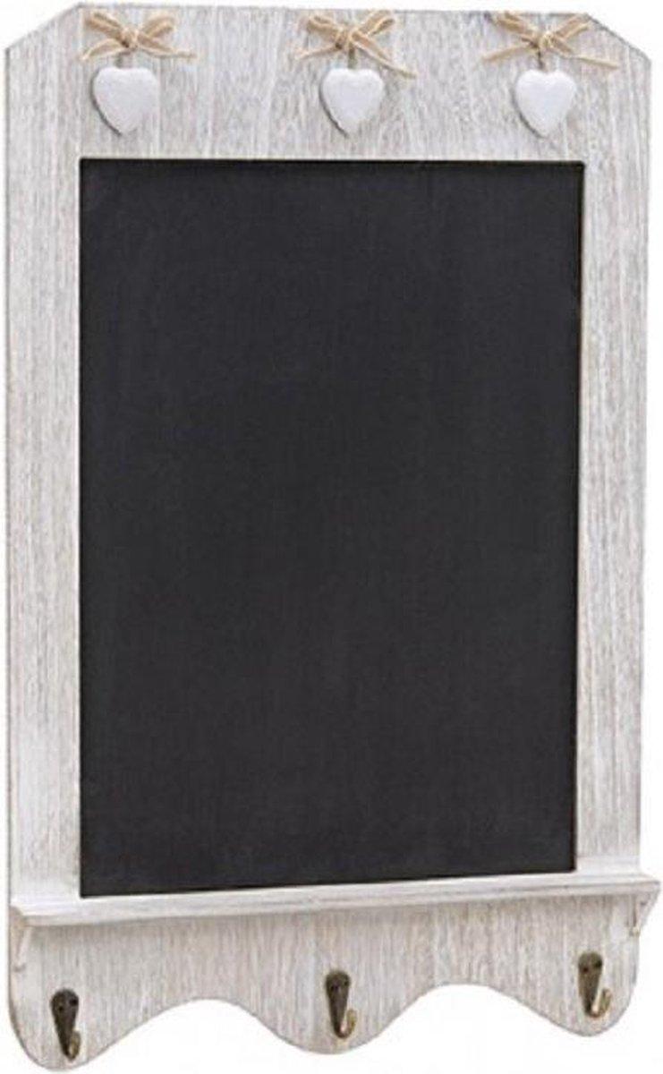 Merkloos / Sans marque Wit houten memo krijtbord met haakjes 33 x 52 cm Wanddecoratie Wandborden van hout online kopen