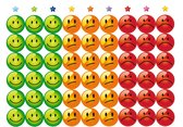 Smiley Beloningsstickers - 5 VELLEN - 270 STICKERS - 19 mm - TOPKWALITEIT - groen, oranje, rood - smiley stoplicht stickers - school - beoordeling - stickers om te belonen