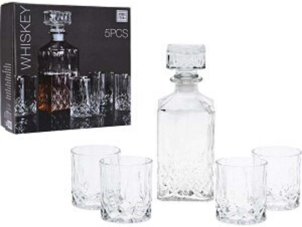Whisky Karaf set - 0.9 L - Incl. 4 Glazen