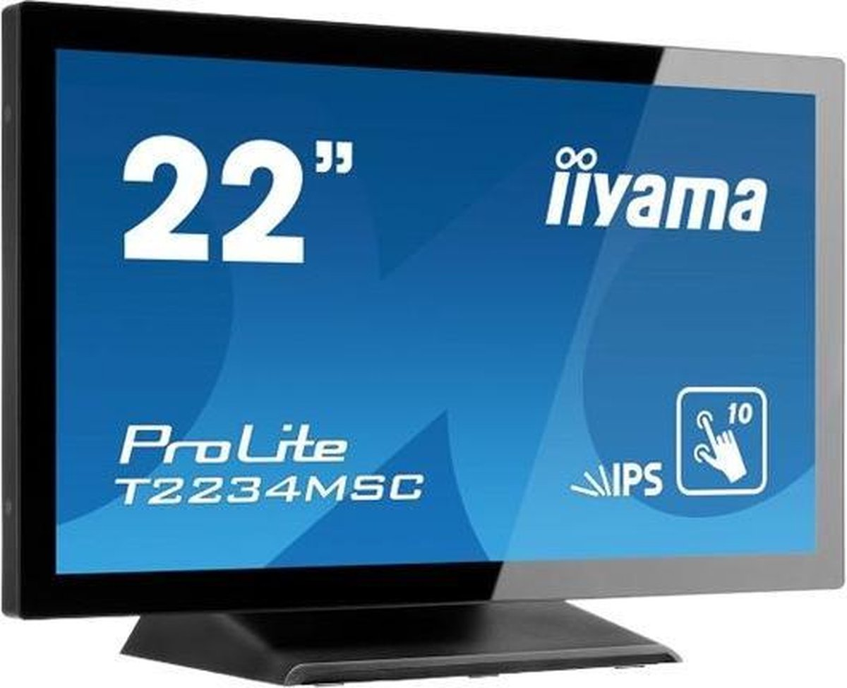 "iiyama ProLite T2234MSC-B6X touch screen-monitor 54,6 cm (21.5"") 1920 x 1080 Pixels Zwart Multi-touch"