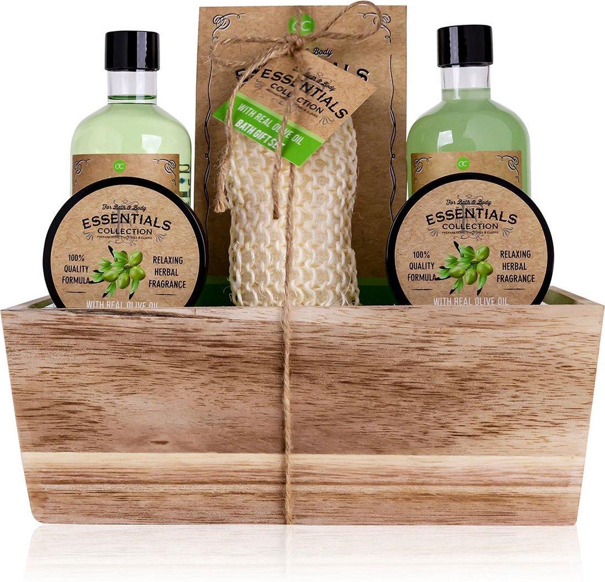 Verjaardag cadeau vrouw - Badset Olive - Bath & Body - kado vrouwen - geschenkset vrouwen voor moede