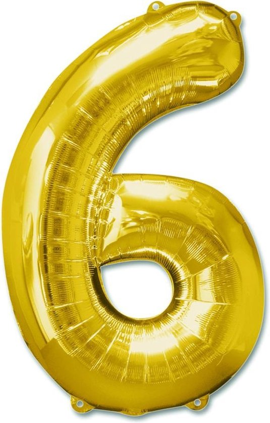 "Haza Original Folieballon Cijfer ""6"" 92 Cm Goud"