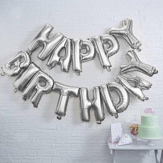 Ginger Ray Pick & Mix 'Happy Birthday' verjaardag ballon slinger - zilver - 1,50 meter
