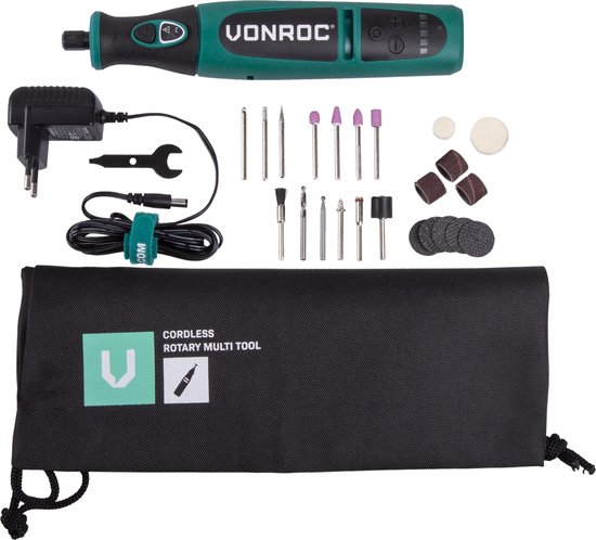 VONROC Accu Multitool – Roterend – 8V – Incl. 24 accessoires, oplader & opbergtas
