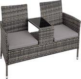 tectake -  Wicker tuinbank met tafel grijs  - 403223