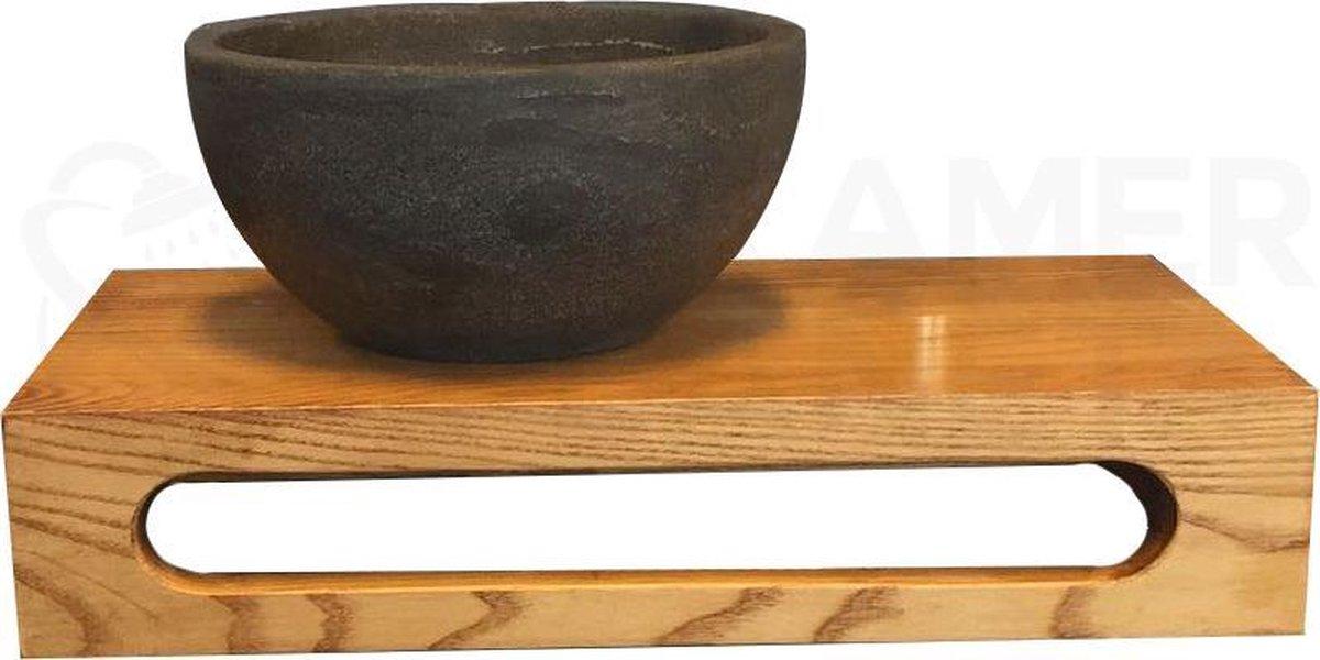 Natuurstenen Waskom Rond met Massief Wood Planchet