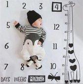 Mijlpaal deken incl. frames - Giraffe - Milestone deken - Baby - Kraamcadeau - Babyshower cadeau - Foto Mijlpaaldeken - Fotoherinnering - Kraamkado jongen - Meisje - Kraamfeest