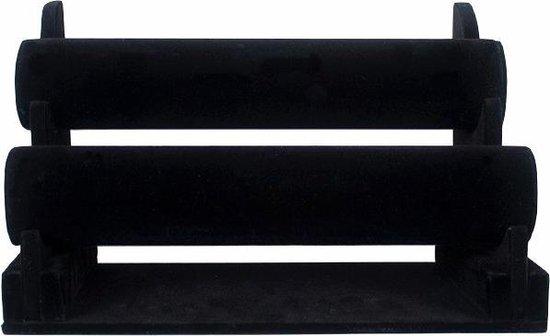 Armbanden display met 2 rollen zwart velours horizontaal