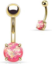Goudkleurige Opal Prong Setting Roze Navelpiercing ©LMPiercings