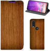 Motorola One Vision Book Wallet Case Donker Hout