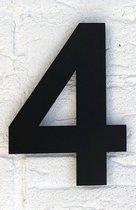 Huisnummer 4 Zwart RVS - Groot 15 cm Arial RVS vlak XXL - Promessa-Design - Type RVS/15/Zwart/Arial.