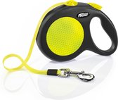 Flexi New Neon Tape - Hondenriem - Geel/Zwart - L - 5 m - (<50 kg)