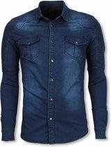 True Rise Biker Denim Shirt - Slim Fit Ribbel Schoulder - Casual overhemden heren Heren Overhemd