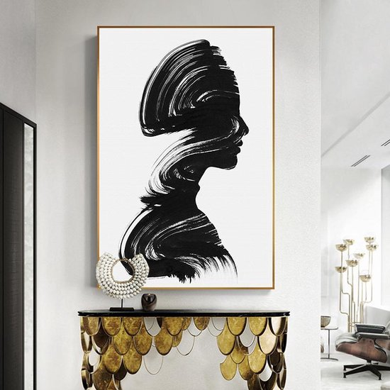 Wonderbaarlijk bol.com | Canvas Schilderij * Silhouette Meisje Abstract in Zwart GF-19