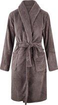 Unisex badjas fleece - sjaalkraag - Taupe/Grijs - maat S/M