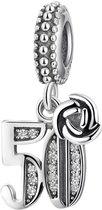 Zilveren bedels Jubileum | Bedel 50 jaar | Jubileum 50 jaar | 925 Sterling Zilver | Bedels Charms Beads | Past altijd op je Pandora armband | Direct leverbaar | Miss Charming