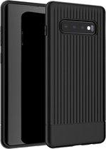 Samsung Galaxy S10 Hoesje Gestreept Patroon Zwart Telefoonhoesje