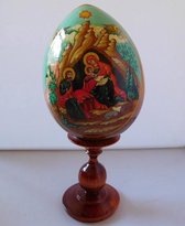 Ikoon Maria op houten ei.