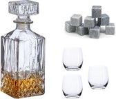 ProLiquor Whiskey set - Karaf - Whiskey glazen (3 stuks) - Whiskey stenen (9 stuks) - Whisky Set