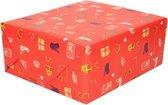 10x Sinterklaas kadopapier print rood 250 x 70 cm op rol - cadeaupapier/inpakpapier - Sint en Piet