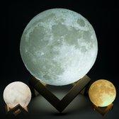 Gadgy LED 3D Maan Lamp 15 cm - Tafellamp op houten standaard - Dimbaar – incl. Aanraaksensor