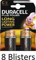 16 Stuks (8 Blisters a 2 st) Duracell Plus Power C batterijen