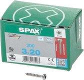 Spax Spaanplaatschroef cilinderkop RVS T-Star T10 3.0x20mm (per 200 stuks)