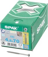 Spax Spaanplaatschroef met boorpunt RVS T20 deeldraad 4.5x70mm (per 100 stuks)