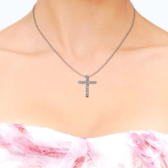 Yolora ketting - Swarovski kristal - Zilverkleurig - Dames - Cross Chain - YO-079W - Yolora