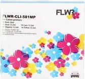 FLWR - Inktcartridge / CLI-581XL / 5-pack Zwart en Kleur - Geschikt voor Canon