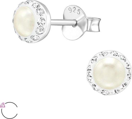 Joy S - Zilveren Classic Swarovski parel oorknopjes 5 mm cream white