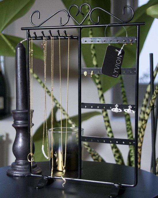 Sieradenrekje staal / Sieradendisplay voor kettinkjes en oorbellen / Voor 16 paar oorbellen / 32 gaatjes / Sieradenstandaard - Zwart