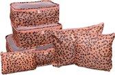 Packing cubes set 6 delig – Pink tijgerprint – Roze – Backpack Organiser