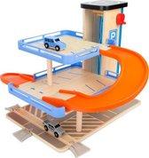 Houten parkeergarage speelgoed - met parkeerdek en 2 auto's - Houten speelgoed vanaf 3 jaar