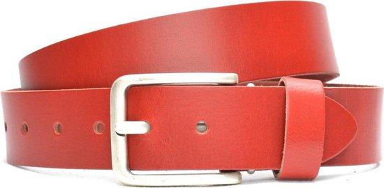 Moderiemen 4 cm rode riem – jeans riem – 100% leder – Maat 95 – Totale lengte riem 110 cm